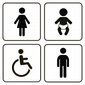 restroom icons lady, man, child and disability