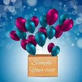 Color Glossy Balloons Card Vector Illustration