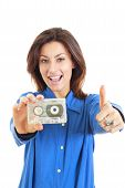 Pretty Woman Holding Audio Cassette Showing Thumbs Up Smiling