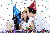 Joyful Girl Celebrate Birthday With Parents