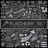 Hand drawn business icons set