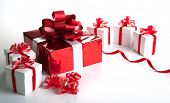 One Red Gift Box White Gift Boxes On Gray