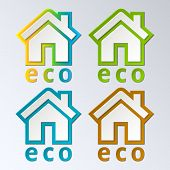 Eco House in rainbow color. Vector. EPS 10.