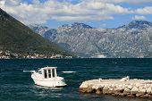 White Boat At The Marina In The Bay Of Kotor, Montenegro