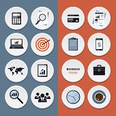 Vector flat icons of business workflow items and elements, office things and equipment.