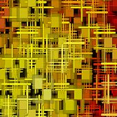 Yellow And Red Square Shape Abstract Background.