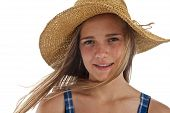 Cute Teen Girl In Straw Hat