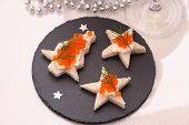 Star Bread With Red Caviar, Champagne, Card