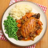 Casseroled chicken breast with vegetables