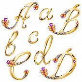 Bronze Alphabet With Colored Gems Letters A,b,c,d