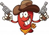 Cowboy chili pepper holding two revolvers. Vector clip art illustration with simple gradients. All in a single layer.