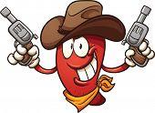 stock photo of revolver  - Cowboy chili pepper holding two revolvers - JPG