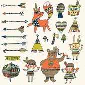 Beautiful indian set in vector. Stylish bright concept elements: children, bear, arrows, fox, wigwam, rabbit, owl and others