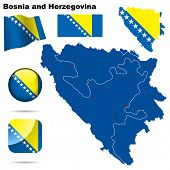 Bosnia and Herzegovina set. Detailed country shape with region borders, flags and icons isolated on white background.