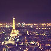 Abstract image of defocused lights of night Paris.