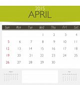 2015 calendar, monthly calendar template for April. Vector illustration.