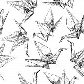 Origami Paper Cranes Set Sketch Seamless Pattern. Black Line