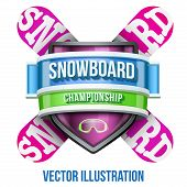 Label for snowboard and winter sport competition. Bright premium design. Vector Illustration.