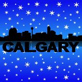 Calgary skyline reflected with snow illustration