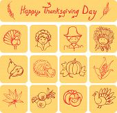 Happy Thanksgiving Day linear icons