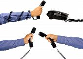 Set Of Male Hand Using Telephone