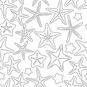 Black and white starfishes summer seamless background, vector