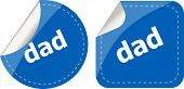 Dad Word On Stickers Web Button Set, Label, Icon