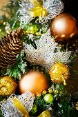 Christmas Background With Bright Decoration