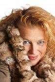 Blond Woman With Fur Hood