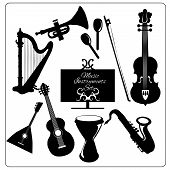 picture of tampon  - Classic musical orchestral instruments black icons set of guitar violin trumpet harp sketch vector abstract isolated illustration - JPG