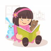stock photo of bookworm  - Girl reading book in her room with toys on background poster vector illustration - JPG