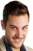 Smiling Young Man With Blue Eyes