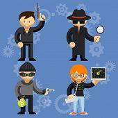 Vector characters involved in criminal activities