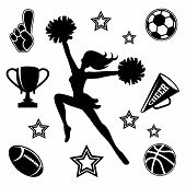 stock photo of cheerleader  - Black vector silhouette of a young female cheerleader with her pompoms surrounded by associated sport icons  megaphone and trophy - JPG