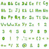 Alphabet and mathematical signs, green