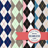 Vector English Rhombus Seamless Pattern Set