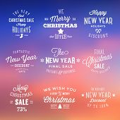 Christmas and New Year Vintage Sales Typography Labels on Abstract Background