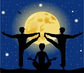 Silhouettes Of Men In Yoga Pose On The Background Of The Moon