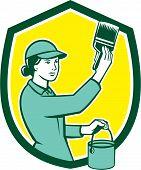 Female House Painter Paintbrush Shield Retro