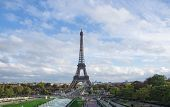The Eiffel Tower In Paris In Cloudy Day