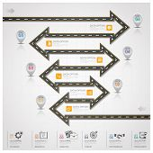 Road And Street Traffic Sign Arrow Step Business Infographic