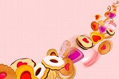 Cookies and sweets on dots Background