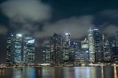 picture of singapore night  - scenic Singapore downtown skyline by night time - JPG