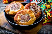 .belyash ,yeast Dough Round Pasty With Meat Filling .