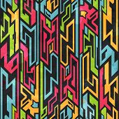 stock photo of tribal  - colored tribal graffiti seamless pattern  - JPG