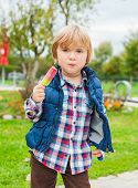 Outdoor portrait of a cute little boy with colorful ice cream