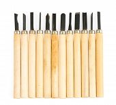 foto of wood craft  - close up art and craft tools on white background wood carving tool - JPG