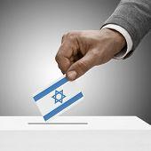 Black Male Holding Flag. Voting Concept - Israel