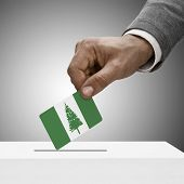 Black Male Holding Flag. Voting Concept - Territory Of Norfolk Island
