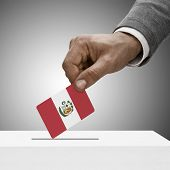 Black Male Holding Flag. Voting Concept - Peru